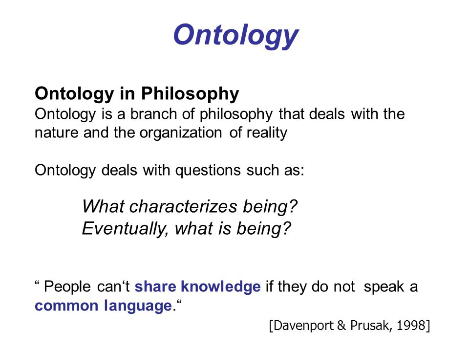 Ontology Ontology in Philosophy Eventually, what is being
