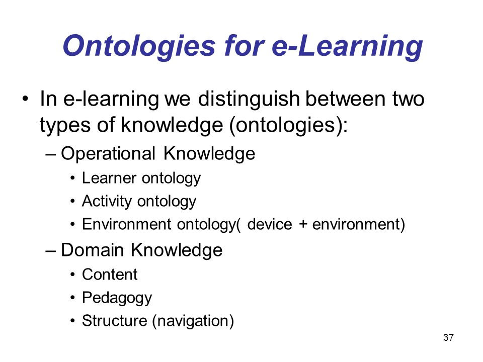 Ontologies for e-Learning