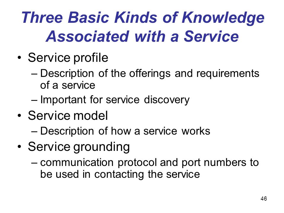 Three Basic Kinds of Knowledge Associated with a Service