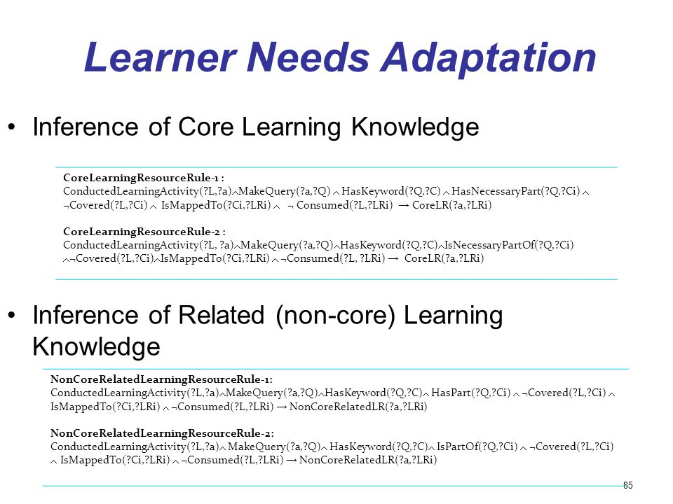 Learner Needs Adaptation