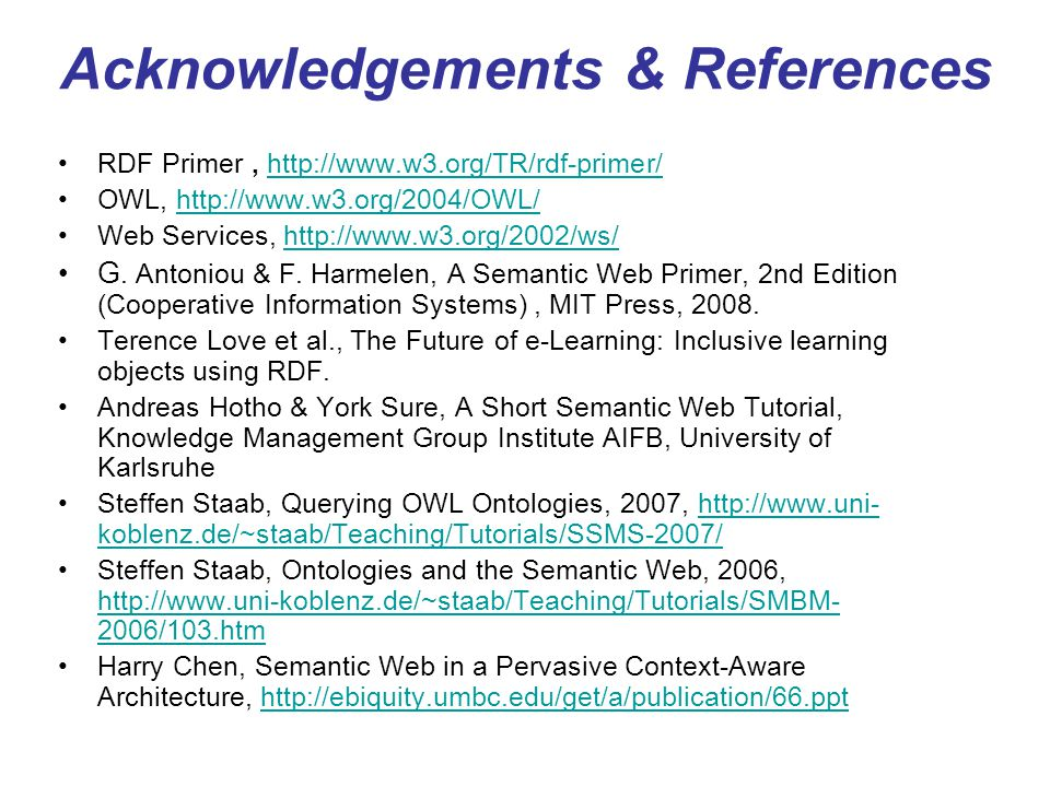 Acknowledgements & References