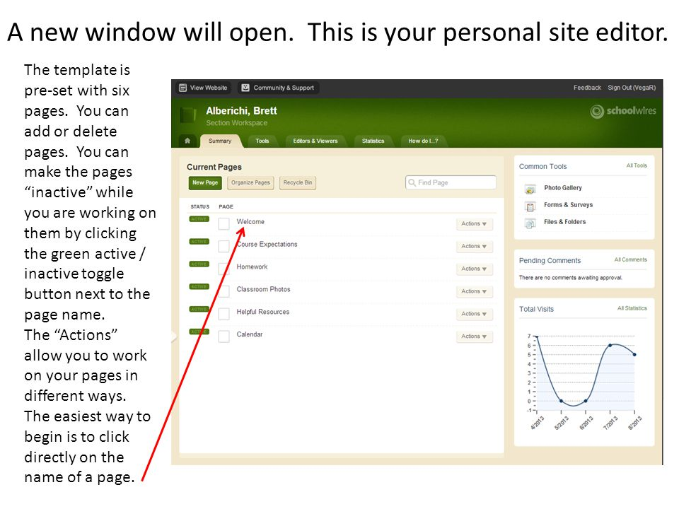 A new window will open. This is your personal site editor.