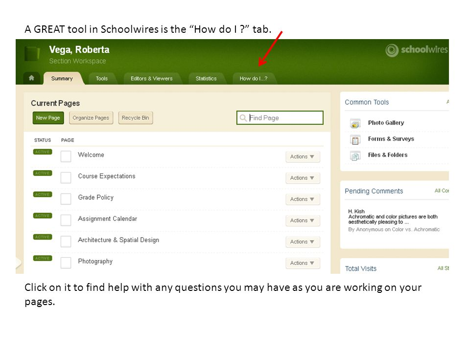 A GREAT tool in Schoolwires is the How do I tab.
