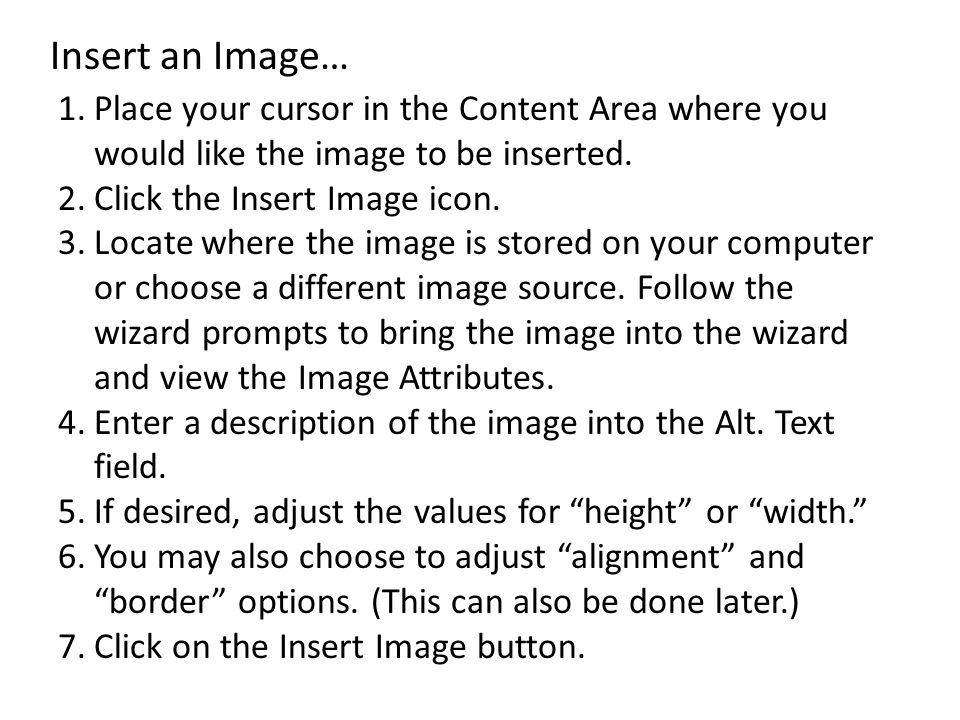 Insert an Image… Place your cursor in the Content Area where you would like the image to be inserted.