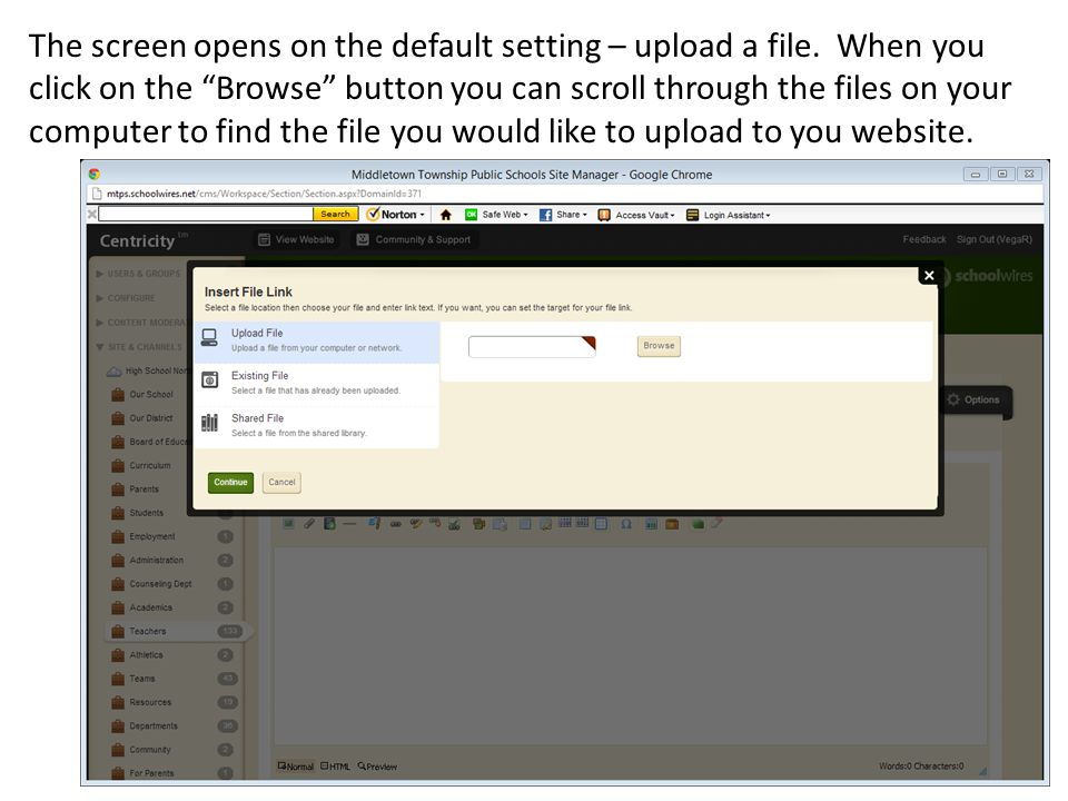 The screen opens on the default setting – upload a file