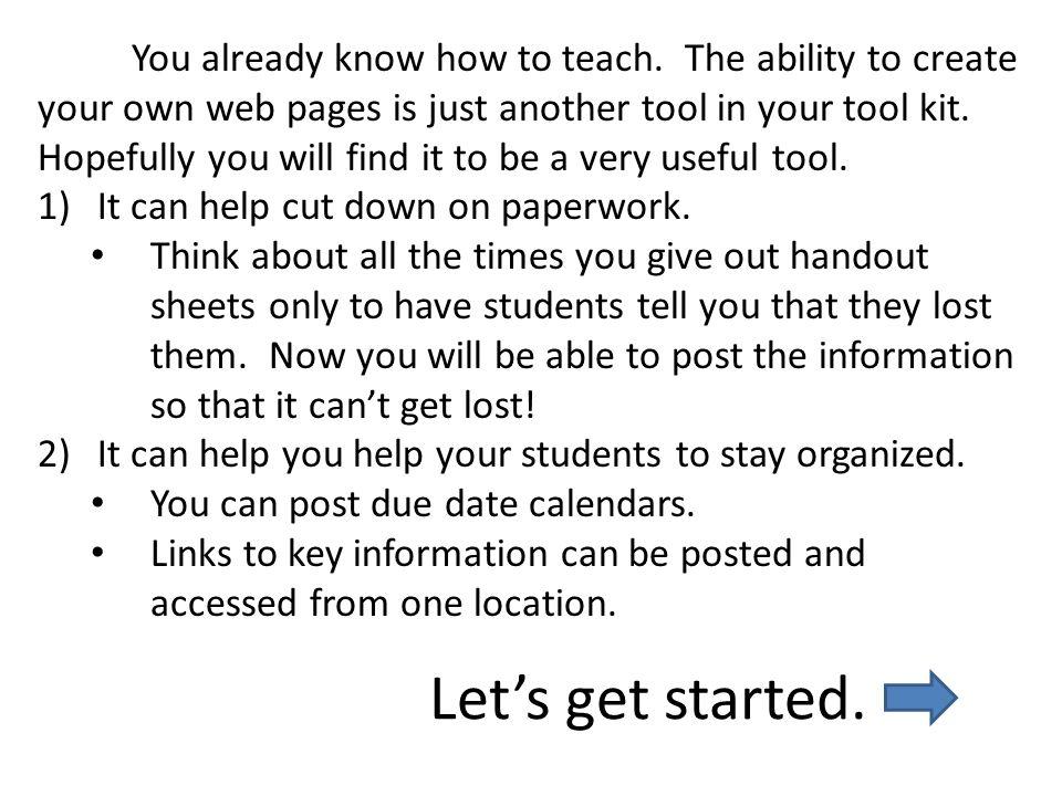 You already know how to teach