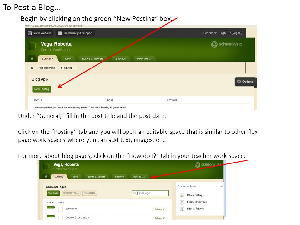 To Post a Blog... Begin by clicking on the green New Posting box.