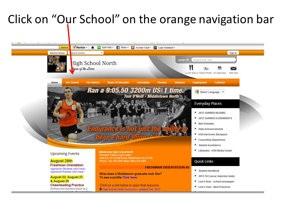 Click on Our School on the orange navigation bar