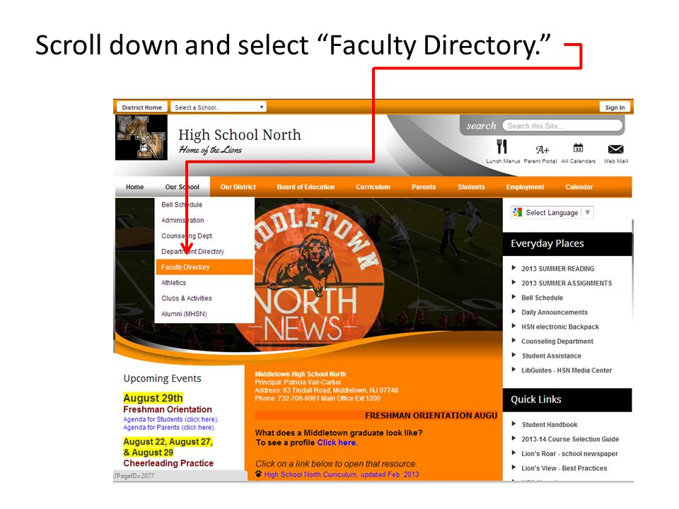 Scroll down and select Faculty Directory.
