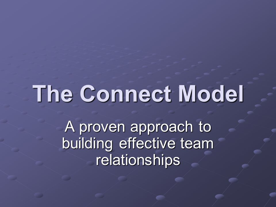 A proven approach to building effective team relationships