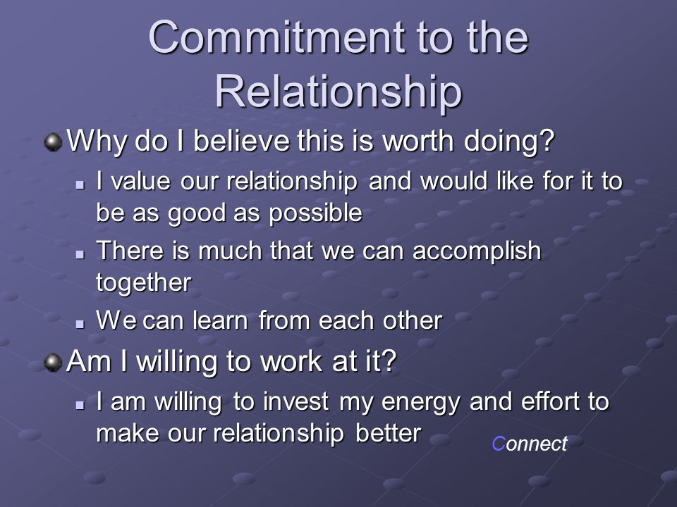 Commitment to the Relationship