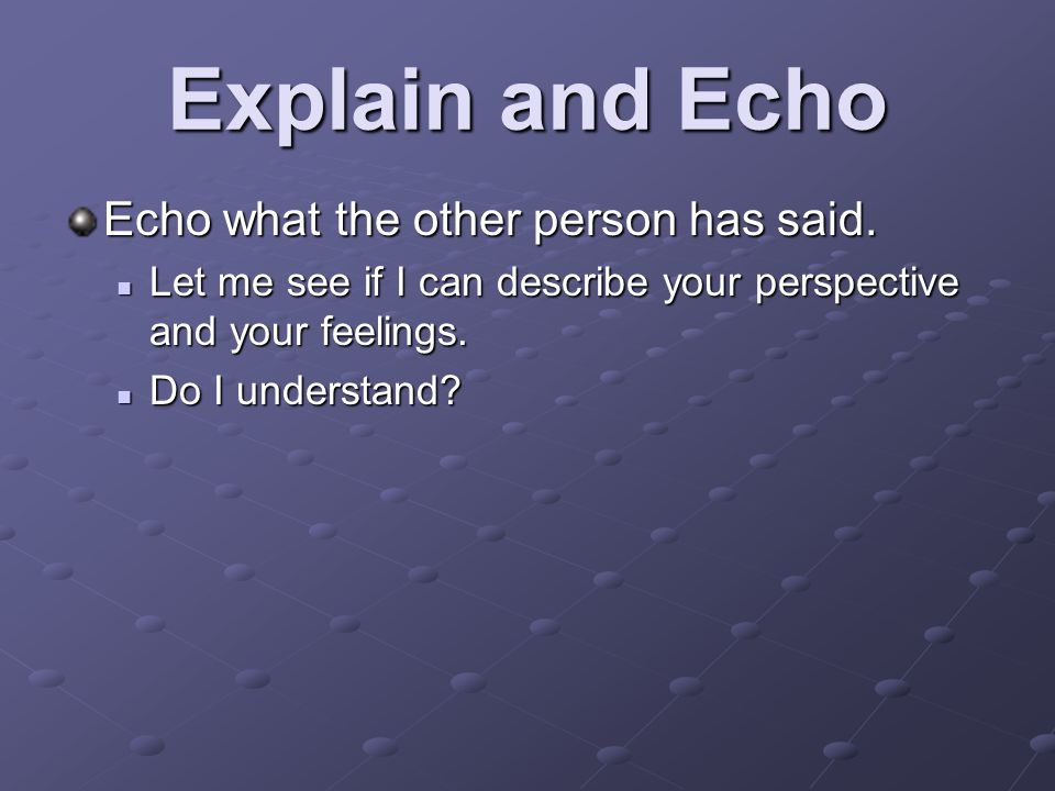 Explain and Echo Echo what the other person has said.