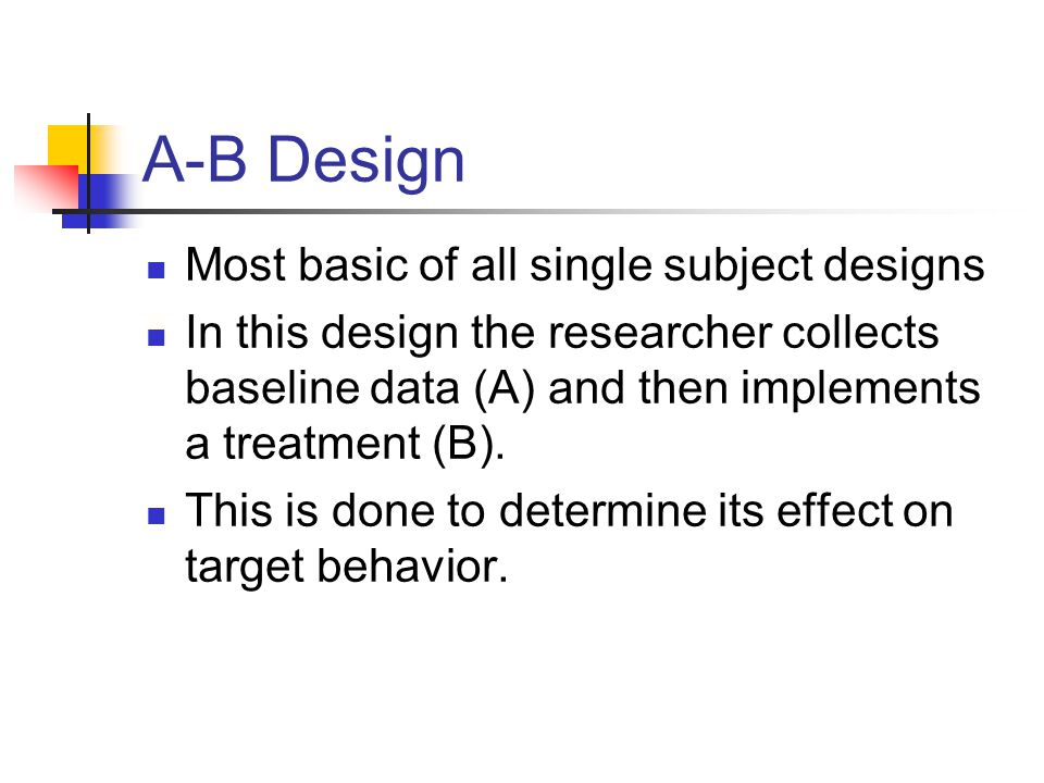 A-B Design Most basic of all single subject designs