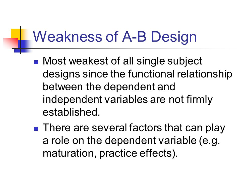Weakness of A-B Design