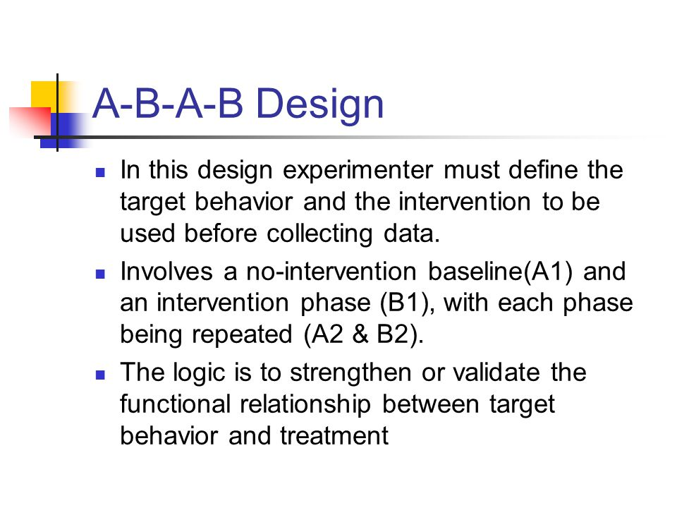 A-B-A-B Design In this design experimenter must define the target behavior and the intervention to be used before collecting data.