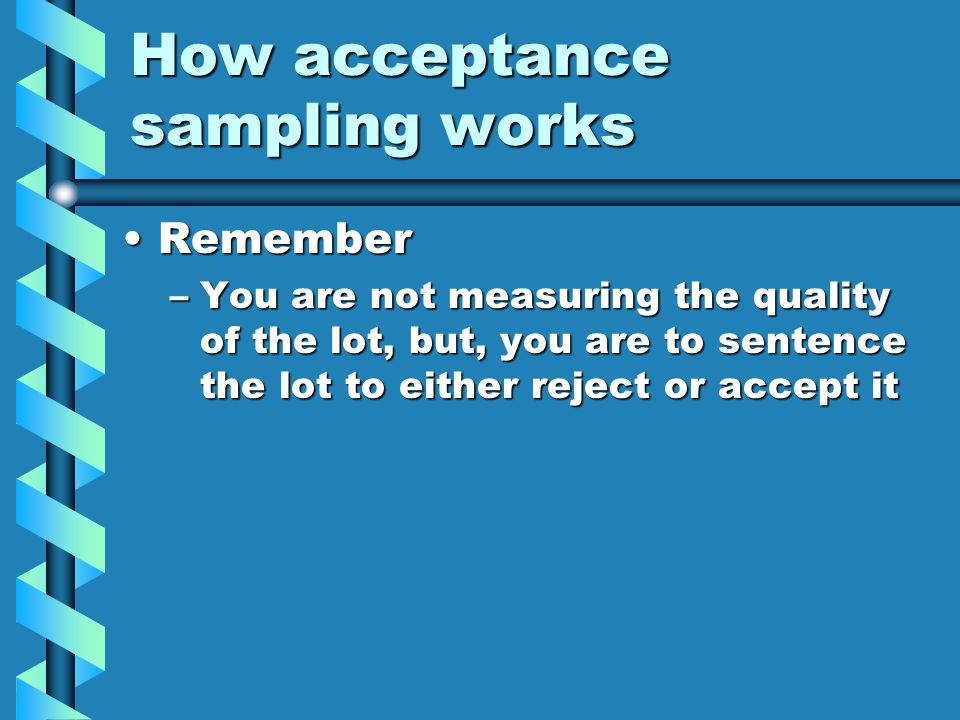 How acceptance sampling works