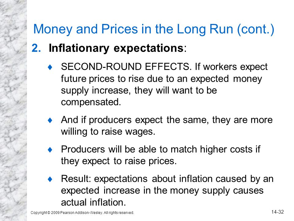 Money and Prices in the Long Run (cont.)