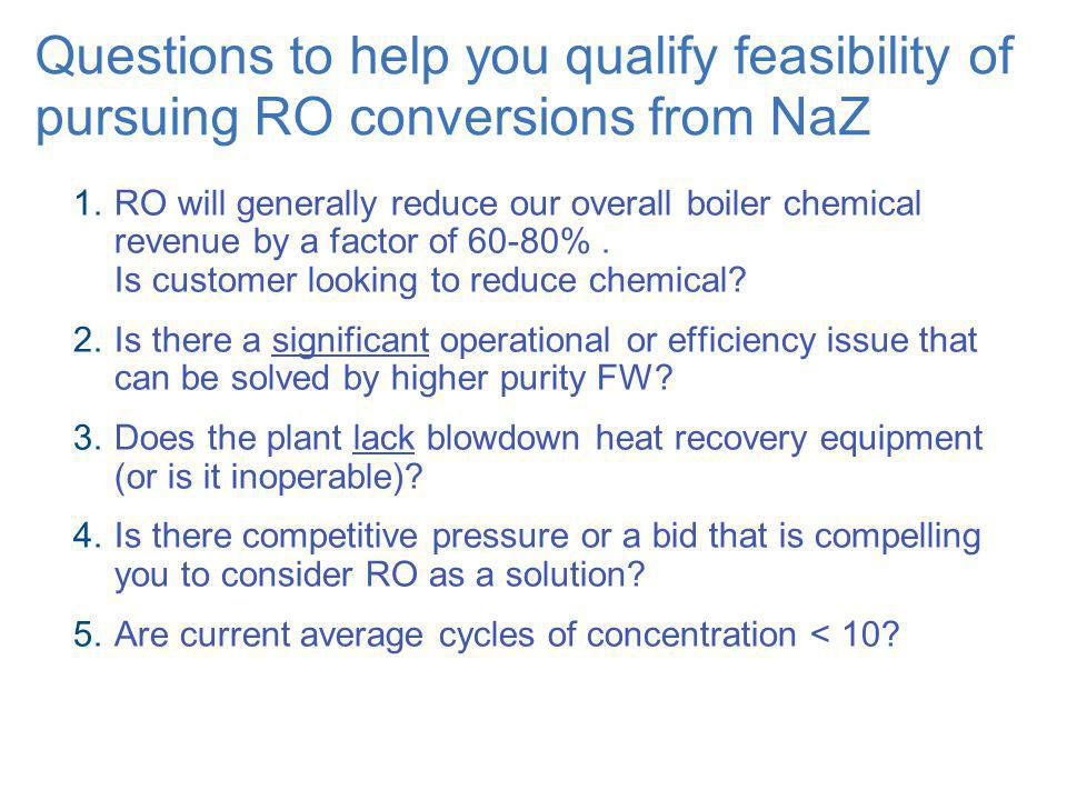 Questions to help you qualify feasibility of pursuing RO conversions from NaZ