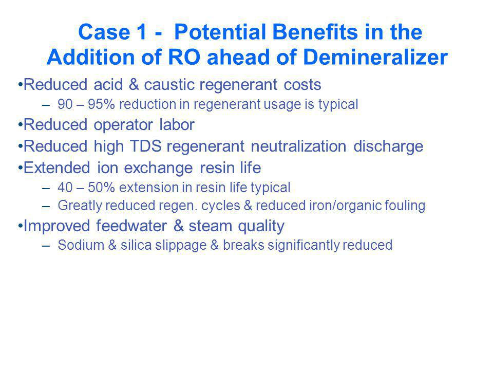 Case 1 - Potential Benefits in the Addition of RO ahead of Demineralizer