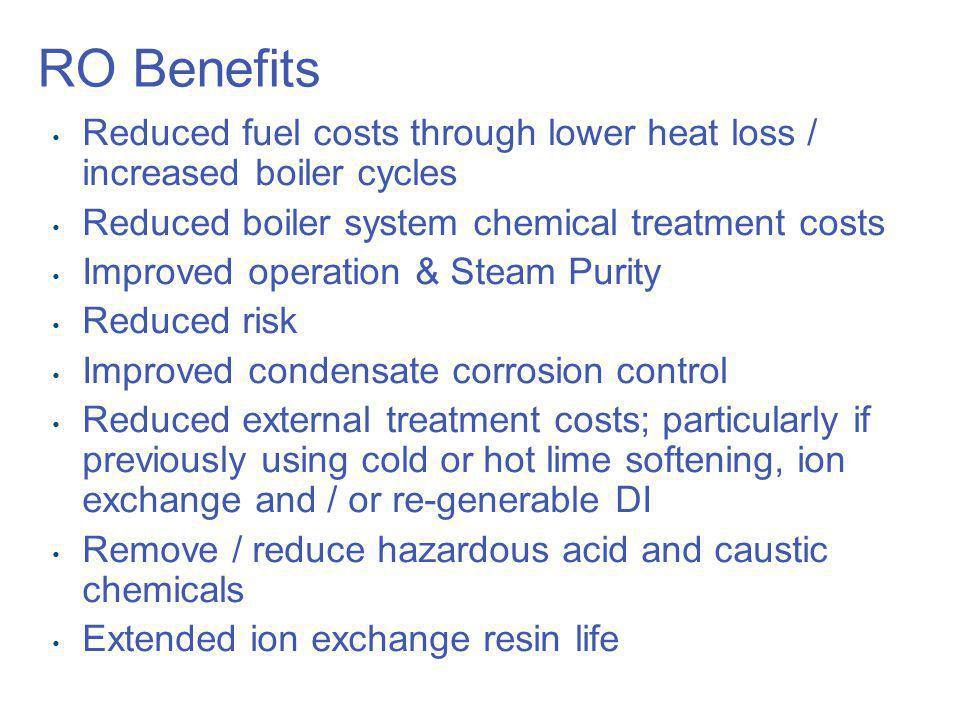 RO Benefits Reduced fuel costs through lower heat loss / increased boiler cycles. Reduced boiler system chemical treatment costs.