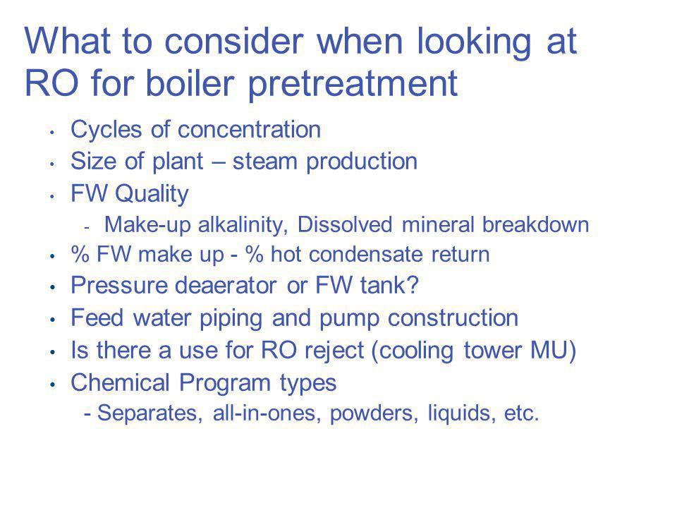 What to consider when looking at RO for boiler pretreatment