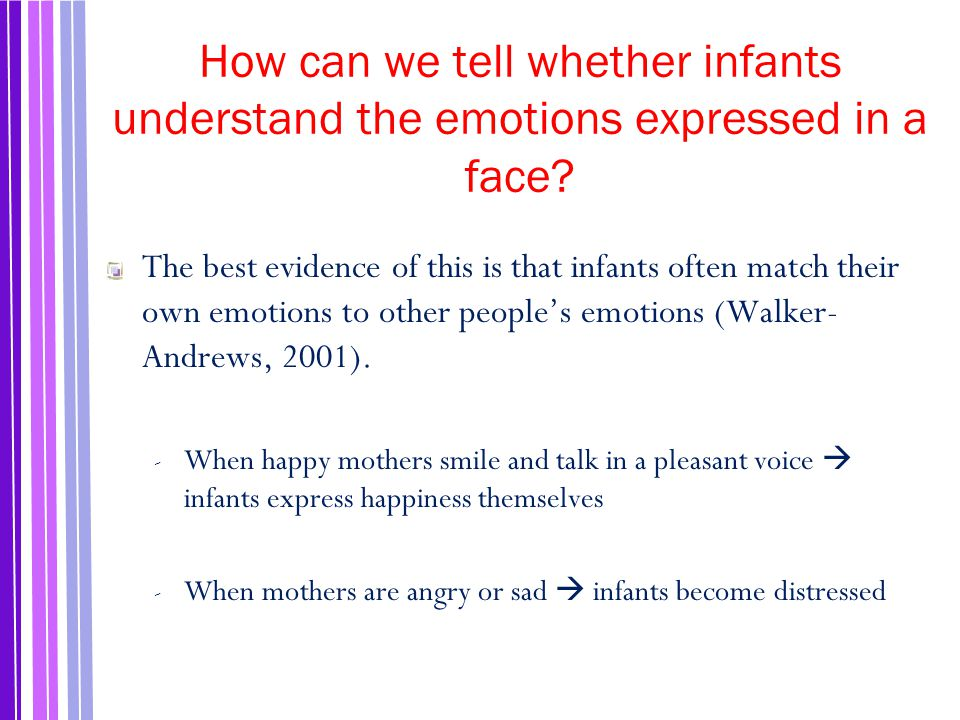 How can we tell whether infants understand the emotions expressed in a face