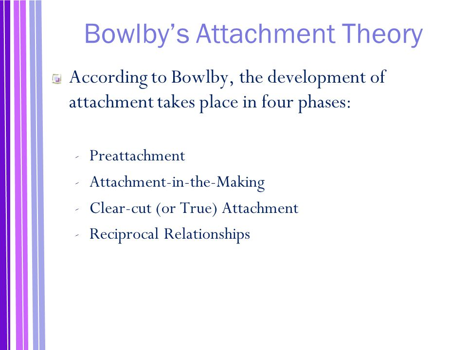 bowlby's ethological attachment theory Abstract from the 1950s, john bowlby, one of the founders of attachment theory, was in personal and scientific contact with leading european scientists in the field of ethology (eg, niko tinbergen, konrad lorenz, and especially robert hinde) in constructing his new theory on the nature of the bond between children and.