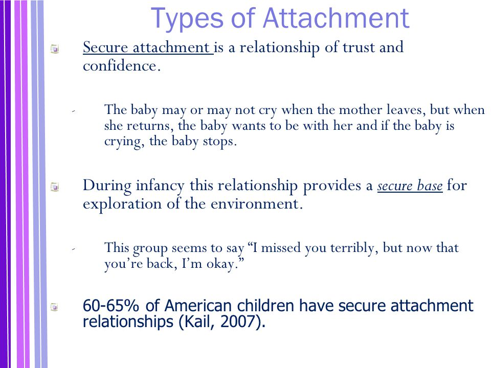 Types of Attachment Secure attachment is a relationship of trust and confidence.