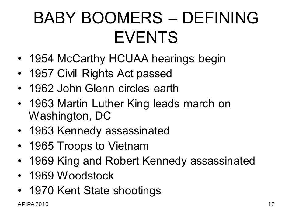 BABY BOOMERS – DEFINING EVENTS