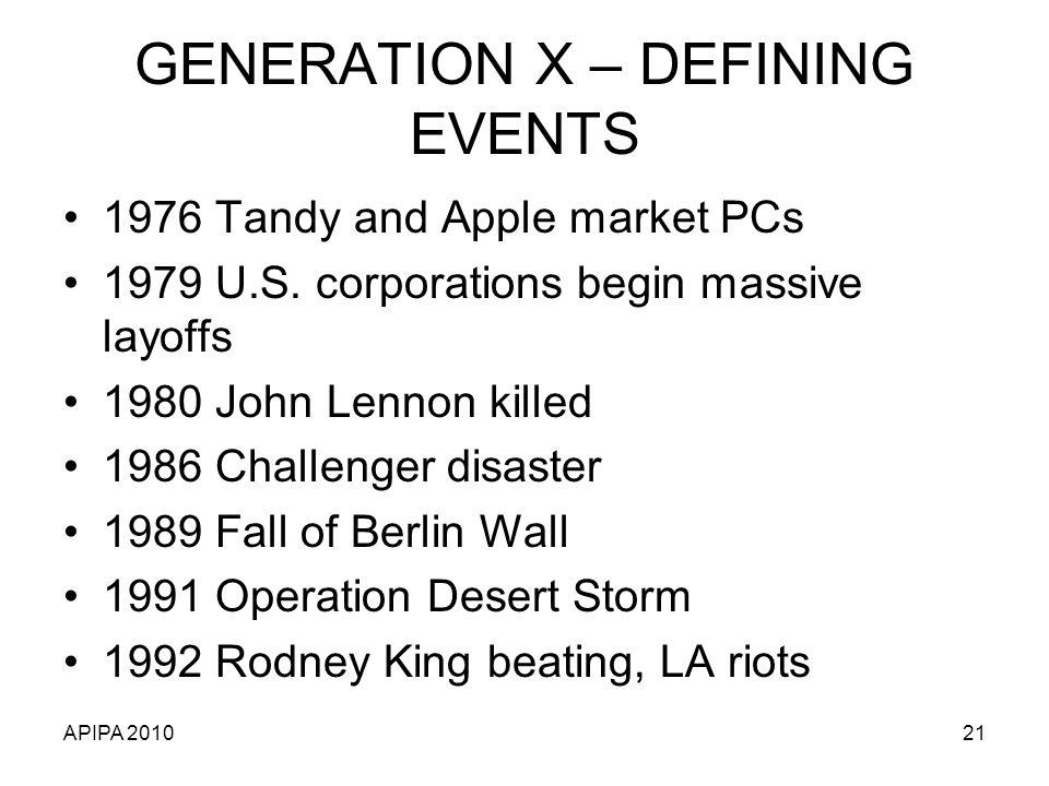 GENERATION X – DEFINING EVENTS