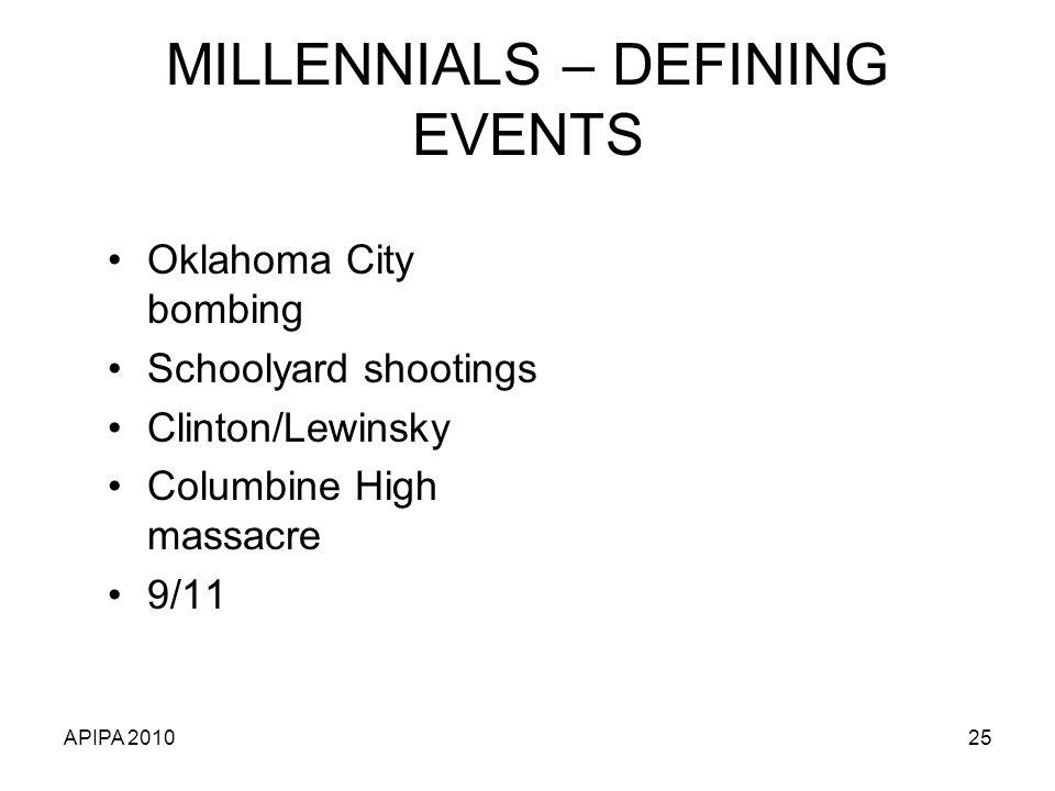 MILLENNIALS – DEFINING EVENTS