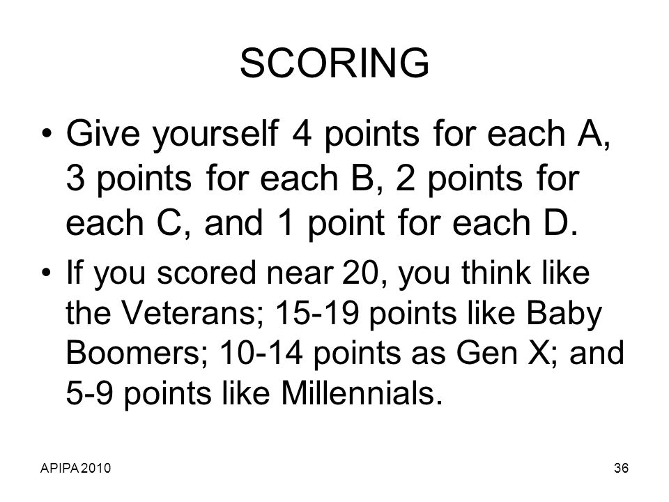 SCORING Give yourself 4 points for each A, 3 points for each B, 2 points for each C, and 1 point for each D.