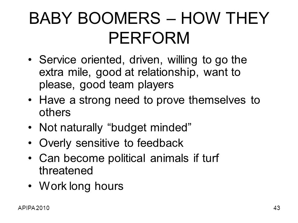 BABY BOOMERS – HOW THEY PERFORM