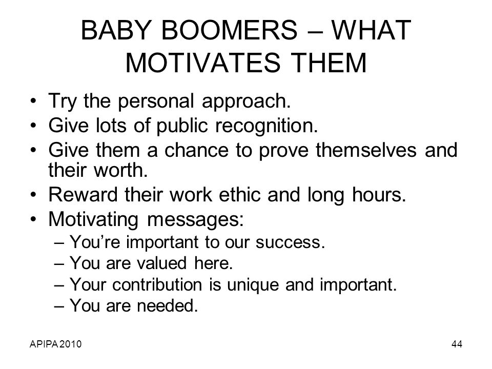 BABY BOOMERS – WHAT MOTIVATES THEM