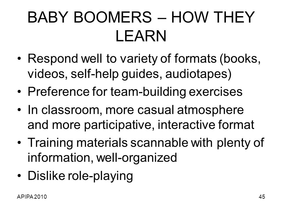 BABY BOOMERS – HOW THEY LEARN