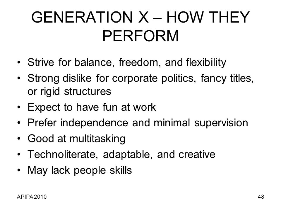 GENERATION X – HOW THEY PERFORM