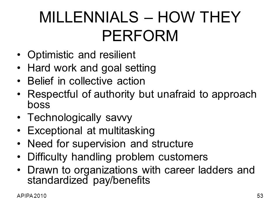 MILLENNIALS – HOW THEY PERFORM