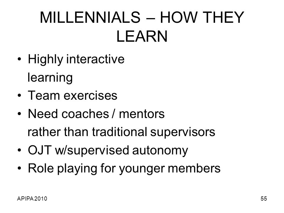 MILLENNIALS – HOW THEY LEARN