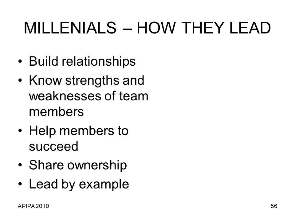 MILLENIALS – HOW THEY LEAD