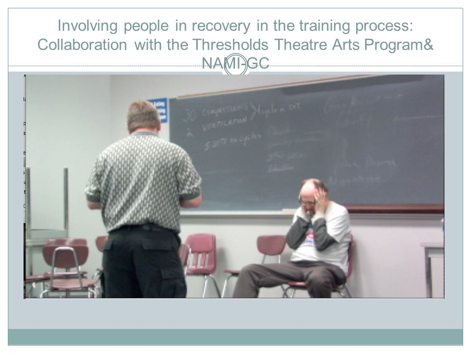 Involving people in recovery in the training process: Collaboration with the Thresholds Theatre Arts Program& NAMI-GC