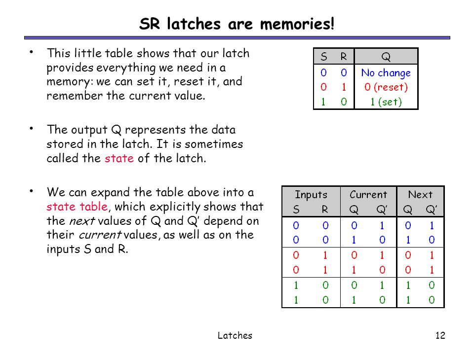 SR latches are memories!