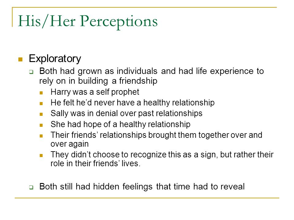His/Her Perceptions Exploratory