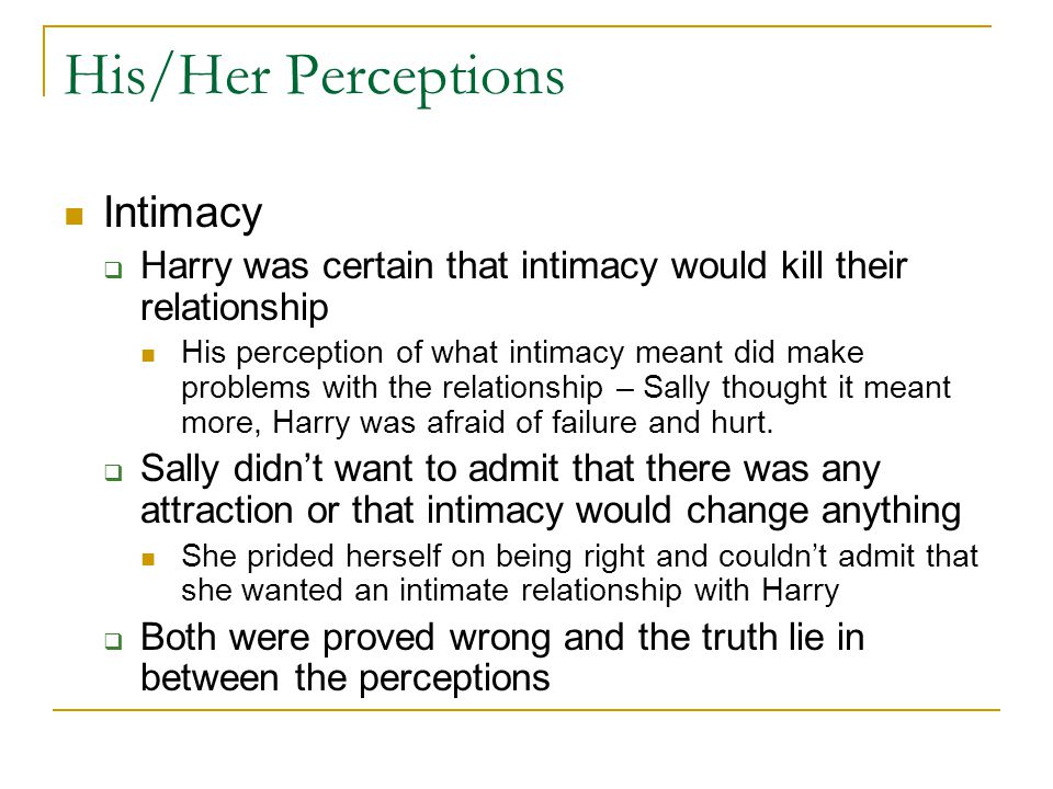 His/Her Perceptions Intimacy