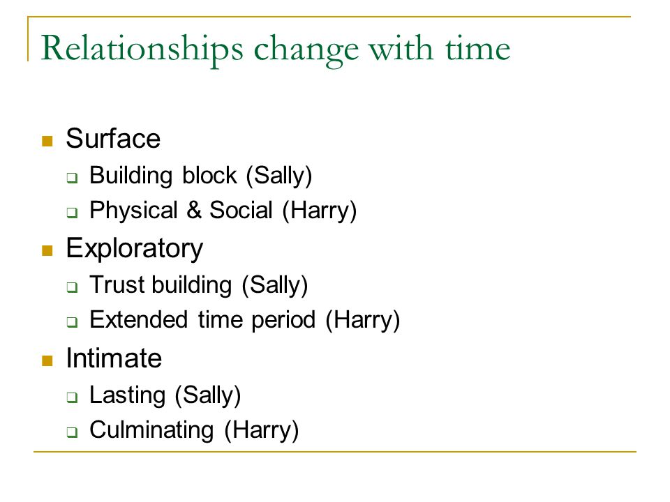 Relationships change with time
