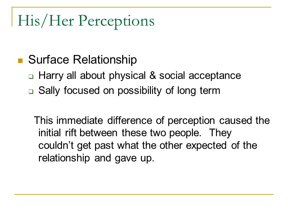His/Her Perceptions Surface Relationship