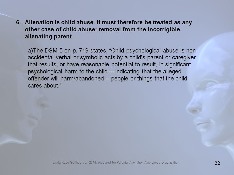From Gottlieb's Amicus Brief that alienation is child abuse: