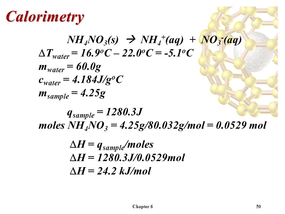 Calorimetry NH4NO3(s)  NH4+(aq) + NO3-(aq)