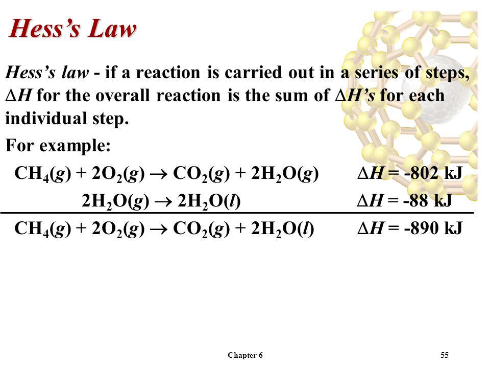 Hess's Law Hess's law - if a reaction is carried out in a series of steps, H for the overall reaction is the sum of H's for each individual step.