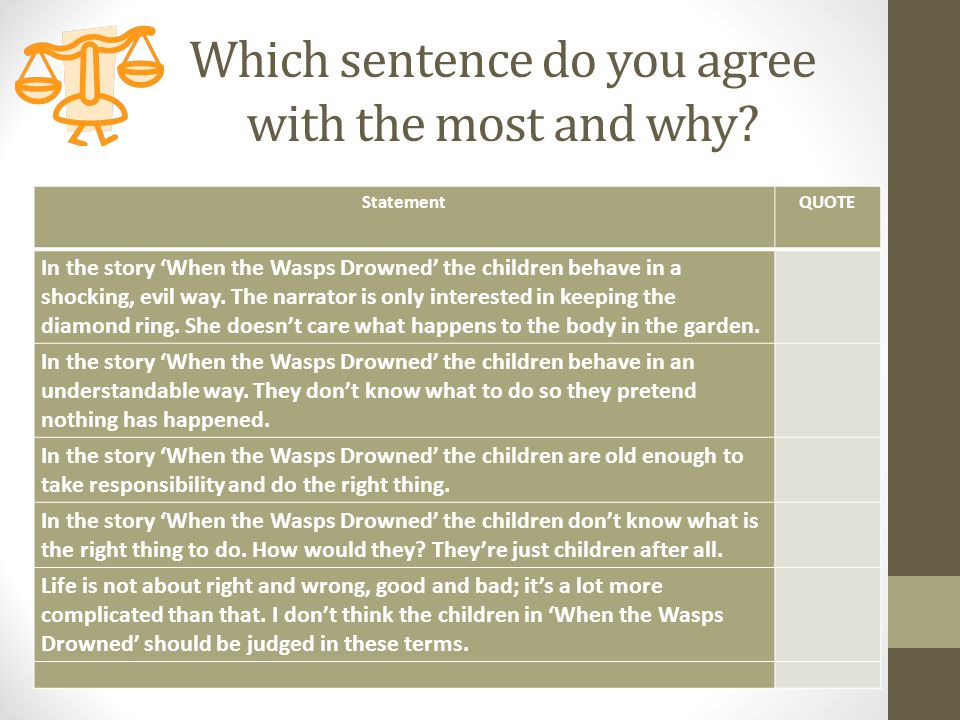 Which sentence do you agree with the most and why