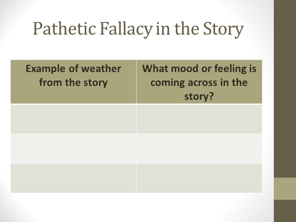 Pathetic Fallacy in the Story